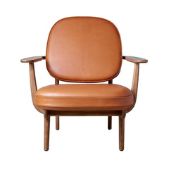 Fritz Hansen JH97 Lounge Chair Grace Walnut Leather Front