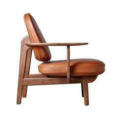 Fritz Hansen JH97 Lounge Chair Grace Walnut Leather Side