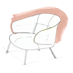 Fritz Hansen Let Chairs by Sebastian Herkner Hand Drawing