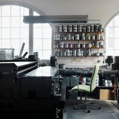 Fritz Hansen Oxford Chair Premium Light Green in Artist's Studio with Paint Cans