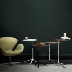 Fritz Hansen Little Friend Tables in Room with Swan Chair
