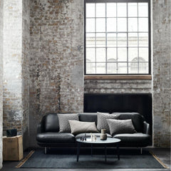 Fritz Hansen Join Coffee Table in Room with Lune Sofa in Black Leather