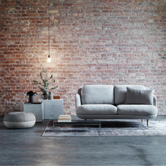 Fritz Hansen Lune Sofa by Jaime Hayon 2 Seat in Room with Cecile Manz Pouf
