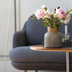 Fritz Hansen Lune Sofa Closeup with Flowers