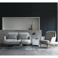 Fritz Hansen Lune Sofa by Jaime Hayon in room with Fri chair Light Grey