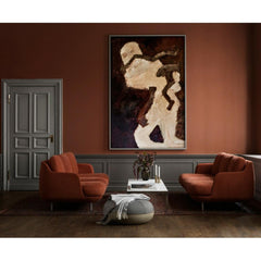 Fritz Hansen Lune Sofas by Jaime Hayon JH300 in Designer Selection Linara Gingersnap in room with Art