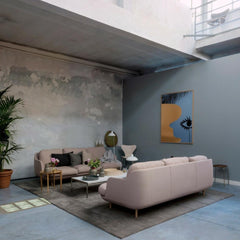 Fritz Hansen Lune Sofas Pale Pink Grey Mist in Room