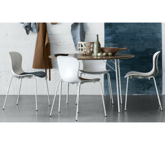 Monochrome Milk White Nap Chairs in Room with Breakfast Table Kasper Salto for Fritz Hansen