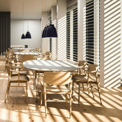 Fritz Hansen Nendo N01 Chairs in Office with Caravaggio Pendant Lights and Super Elliptical Tables