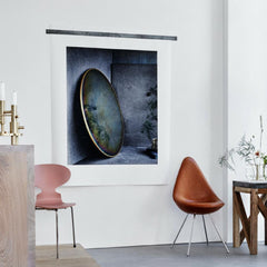 Fritz Hansen Mirror by Studio Roso in room with Arne Jacobsen Ant and Drop Chairs