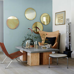 Fritz Hansen Ikebana Vase in situ with gold mirrors and objects