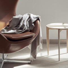 Fritz Hansen Cashmere Throw with Leather Egg Chair and Tray Table