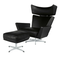 Fritz Hansen Oksen Chair and Ottoman by Arne Jacobsen in Black Leather
