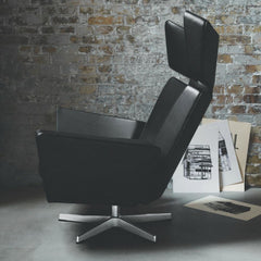 Fritz Hansen Oksen Chair by Arne Jacobsen in Black Leather in Room Side View