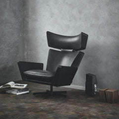 Fritz Hansen Oksen Chair by Arne Jacobsen in Black Leather Angled in Room