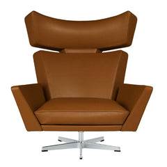 Fritz Hansen Oksen Chair by Arne Jacobsen in Elegance Leather Walnut Front