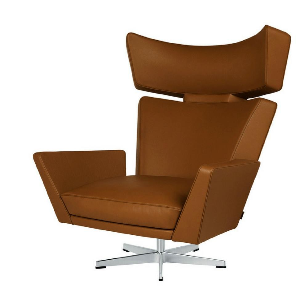 Fritz Hansen Oksen Chair by Arne Jacobsen in Elegance Leather Walnut