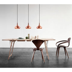 Fritz Hansen Orient Pendant Lights Copper in dining room with Cherner Chairs