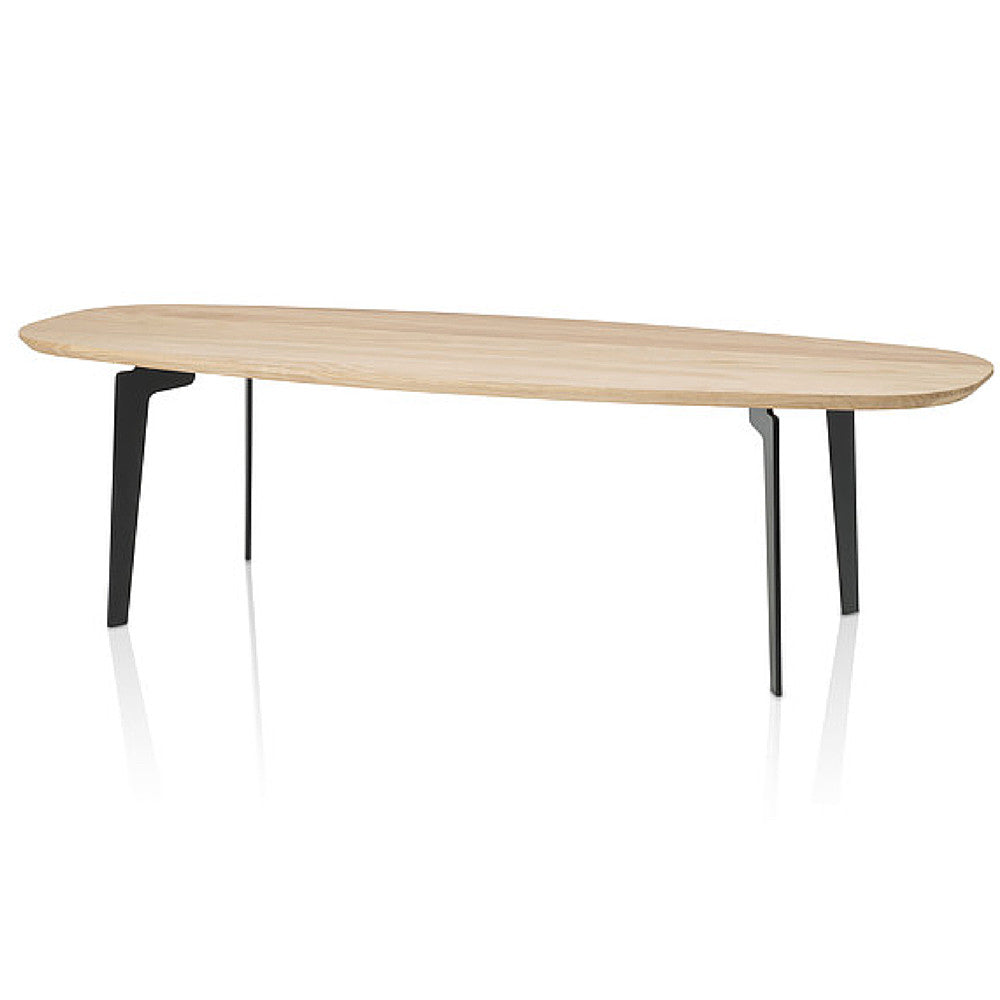 Fritz Hansen Join Coffee Table Oval in Natural Oak with Black Steel Legs