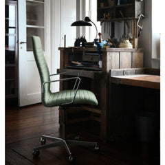 Fritz Hansen Premium Oxford Chair on Casters in Office with Kaiser Idell Lamp