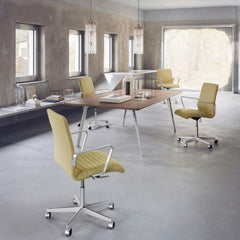 Fritz Hansen Pluralis Table by Kasper Salton in Room with Yellow Oxford Chairs