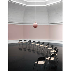 Fritz Hansen PAIR chair by Benjamin Hubert Black and Oak in an Arc in Rose Colored Room