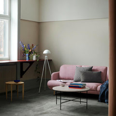 Paul McCobb Planner Coffee Table in room with Fritz Hansen Lune Sofa