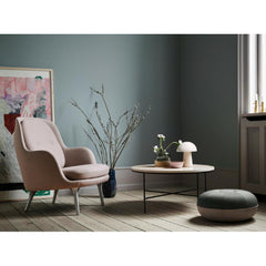 Fritz Hansen Pouf by Cecilie Manz in room with Fri Chair and Planner Coffee Table