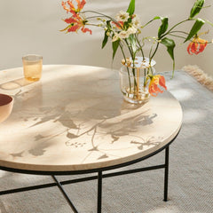 Fritz Hansen Paul McCobb Planner Coffee Table Cream Marble with Black Metal Base