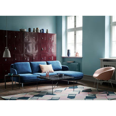 Fritz Hansen Paul McCobb Planner Coffee Table in room with Lune Sofa and Pot Chair