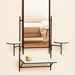Fritz Hansen Paul McCobb Planner Wall Mirror with Marble Shelves in Room Detail