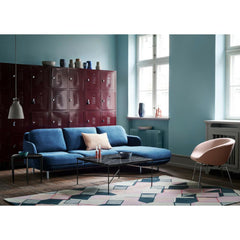 Fritz Hansen Lune Sofa in room with Pot Chair and Paul McCobb Planner Coffee Table