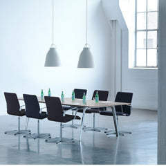 Fritz Hansen Oxford Premium Chairs in Loft Conference Room with Light Years Pendants