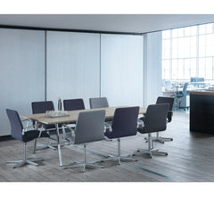 Fritz Hansen Pluralis Table with Polished Aluminum Base by Kasper Salto in Open Office with Premium Oxford Chairs