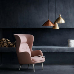 Fritz Hansen Ro Chair by Jaime Hayon Light Pink in Room with Lightyears Pendants