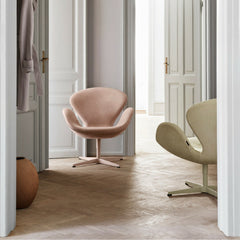 Fritz Hansen Swan Chairs Rose and Grass Nubuck Leather in Situ