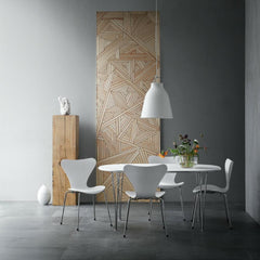 Fritz Hansen Super Elliptical Table in Room with Caravaggio Pendant and Series 7 Chairs