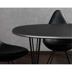 Fritz Hansen Table Series black super elliptical dining table detail Piet Hein Bruno Matthson Arne Jacobsen