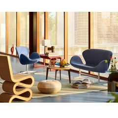 Fritz Hansen Limited Edition Pouf in room with Swan Sofa and Wiggle Chair