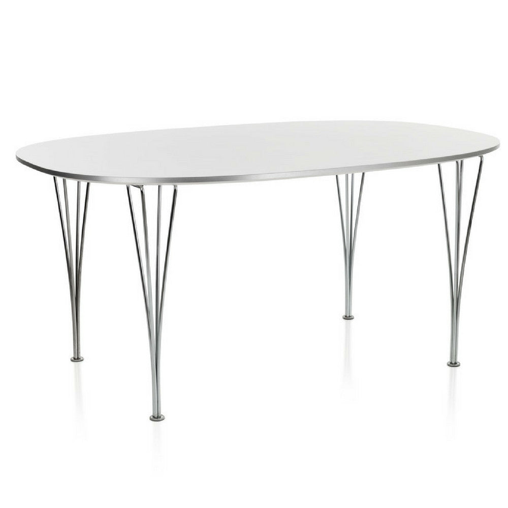 Fritz Hansen Table Series white super elliptical dining table with aluminum edge Piet Hein Bruno Matthson Arne Jacobsen