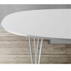 Fritz Hansen Table Series white super elliptical dining table detail Piet Hein Bruno Matthson Arne Jacobsen
