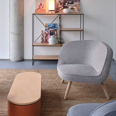 Fritz Hansen Via 57 Chairs in room with Paul McCobb Planner Book Shelves