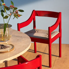 Fritz Hansen Carimate Chairs by Vico Magistretti Red Lacquer in Dining Room