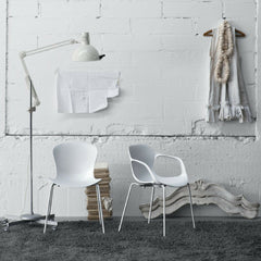 Monochrome Milk White Nap Chair and Nap Arm Chair Styled in Room Kasper Salto for Fritz Hansen