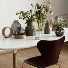 Fritz Hansen Vases with Analog Table and Limited Edition Series 7 Chair in Merlot