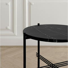 Closeup of GamFratesi TS Black Marble with Black Frame TS Console Table by GUBI
