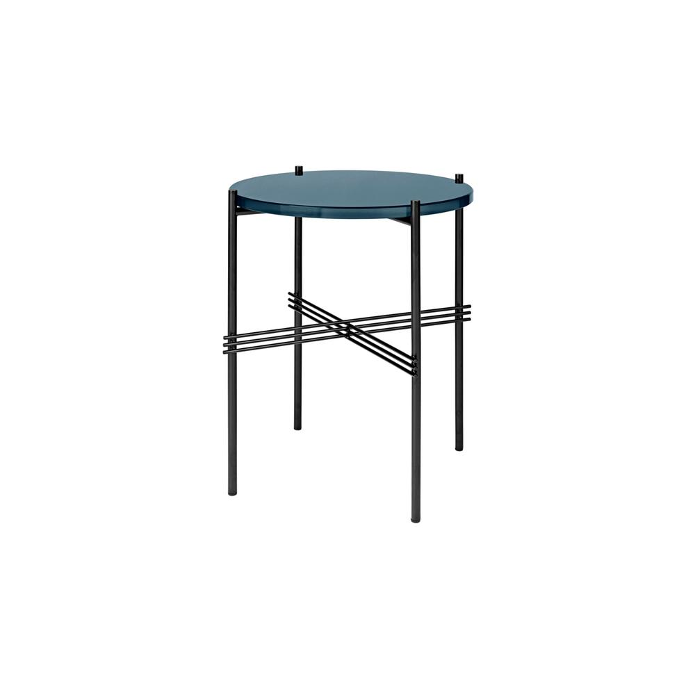 GUBI TS40 Side Table in Blue Grey Glass with Black Frame