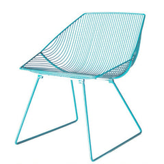Bend Bunny Lounge Chair Peacock Blue Angled