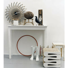 Gehry Wiggle Stool in Room with Nelson Sunflower Clock and Eames Bird Vitra