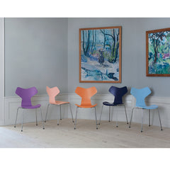 Grand Prix Chairs in Colors by Tal R in Room with Art Arne Jacobsen Fritz Hansen